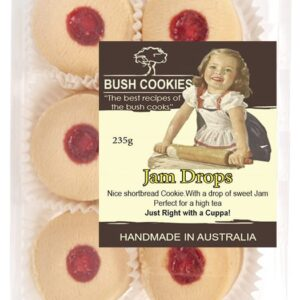 Jam Drop Shortbread Biscuits by Bush Cookies 235g