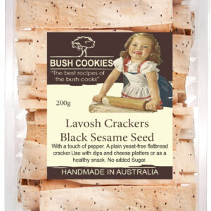 Gourmet Lavosh Crackers - Black Sesame with Pepper 200g