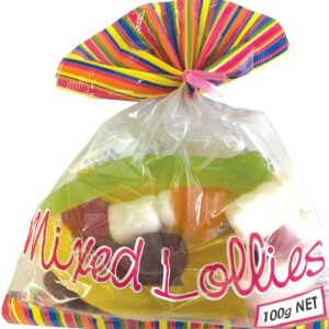 Mixed Lollies Flare Bags carton of 20 x 100g bags for Kids Parties