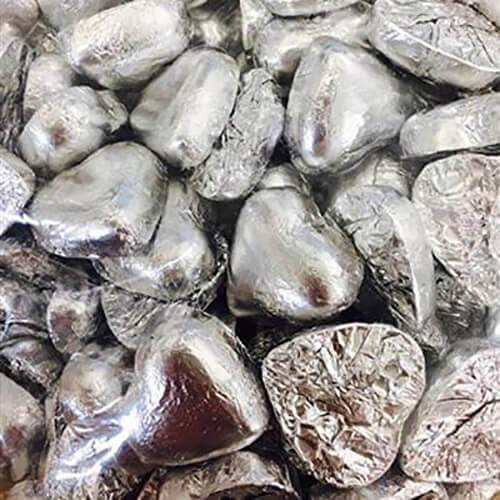 Silver Chocolate Hearts 1kg - Lolliland