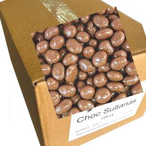 Chocolate Sultanas 8kg bulk Carton