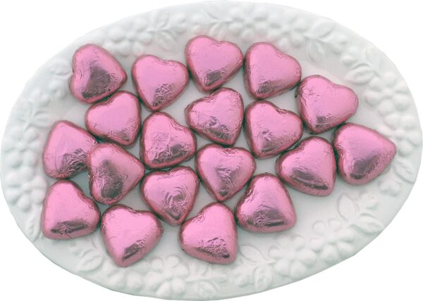 Pink Chocolate Hearts 1kg - Lolliland