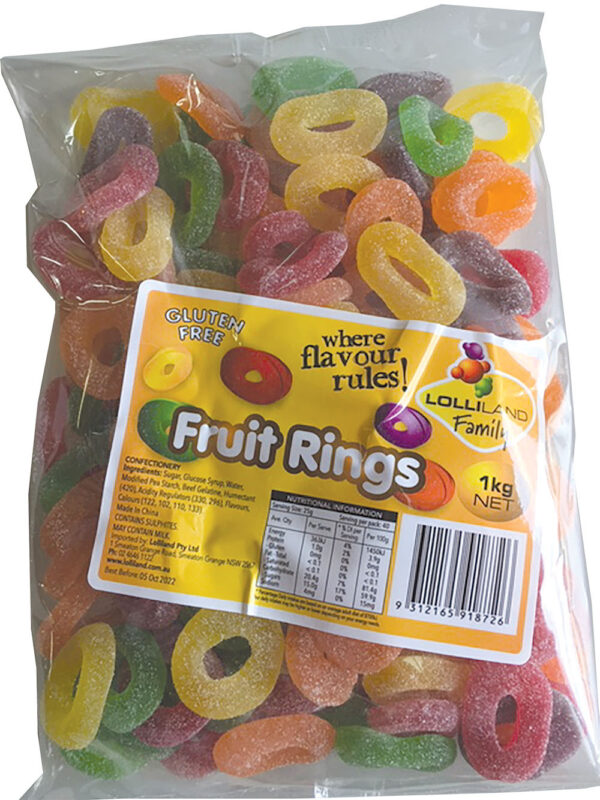 Fruit Rings 1kg  - Gluten Free 1kg Bulk Lollies